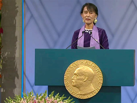 devine dimmid nobel peace prize laureate aung san suu kyi giving her nobel lecture in oslo on